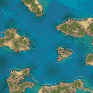 Eine Tabletop Battle Mat im Karibik-Inseln Design.